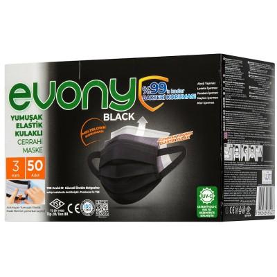 Evony 3 Katlı Burun Kısmı Telli Cerrahi Maske 50 lik Siyah
