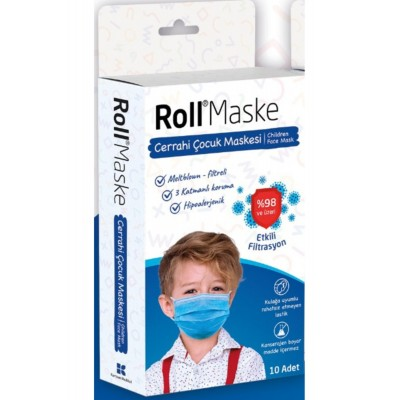 Roll Erkek Çocuk Maskesi 10 Lu Paket